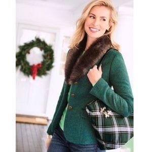 Talbots Green Aberdeen Wool Faux Fur Blazer Jacket